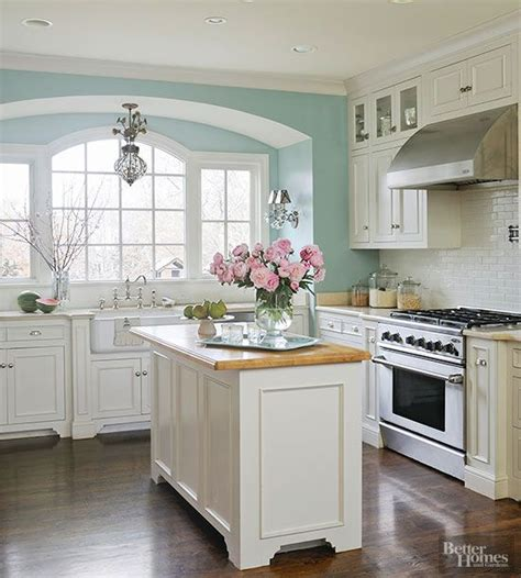 kitchen colors create a serene kitchen setting with a light and cheery