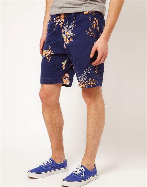 pattern blue overalls lyst scotch soda scotch soda floral pattern shorts in