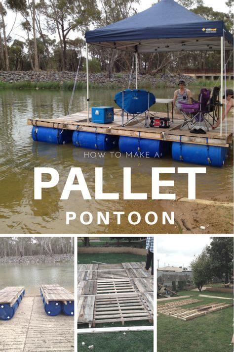 diy portable pontoon   pallets   blue drums