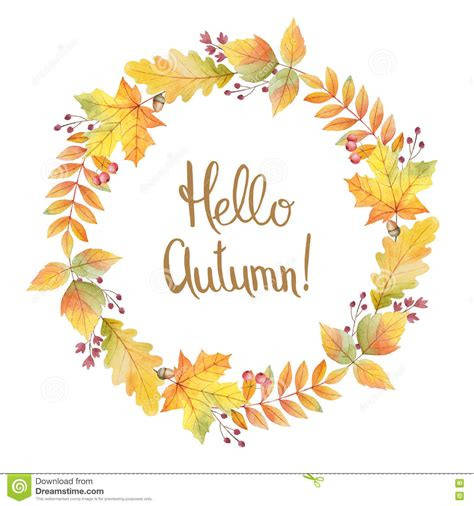Wreathes hello autumn watercolor round frame with colored leaves