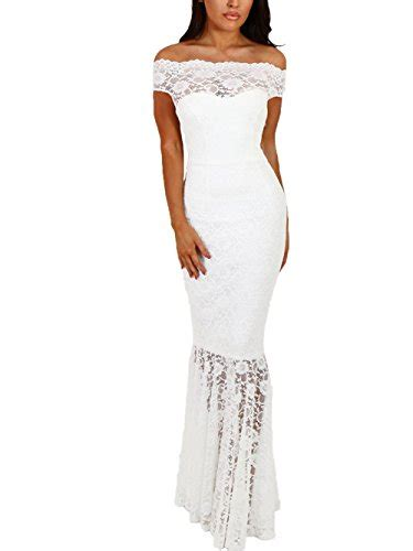 elapsy womens shoulder bardot lace evening gown fishtail maxi dress find prom dresses