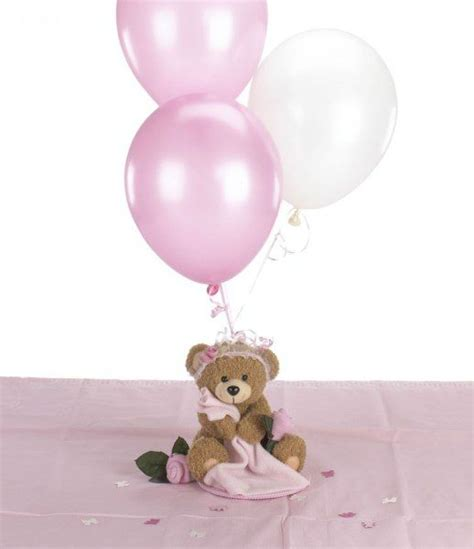Teddy bear baby shower for girls blankie bear balloon centerpiece amp table decorations package