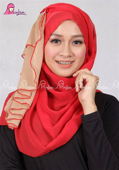 Jilbab Pashmina Instan Ribby twist scarf romanticred miulan boutique