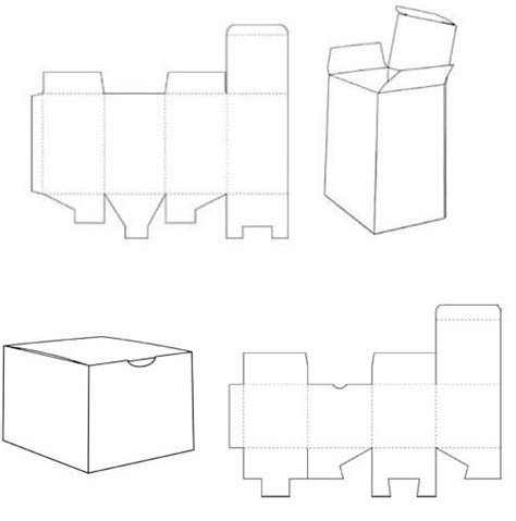 Packaging Folding Templates 1 2 3 closure box template corrugated and folding box templates