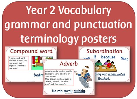 grammar and punctuation year year 2 vocabulary grammar and punctuation terminology posters by highwaystar teaching