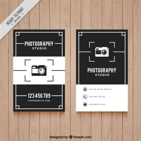 elegant black and white business card for photography