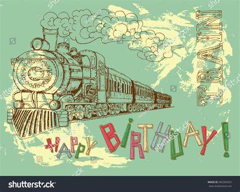 theme line vintage retro happy birthday card steam train stock vector