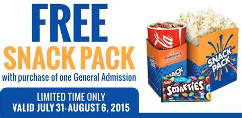cineplex food coupons landmark cinemas free snack pack with general admission