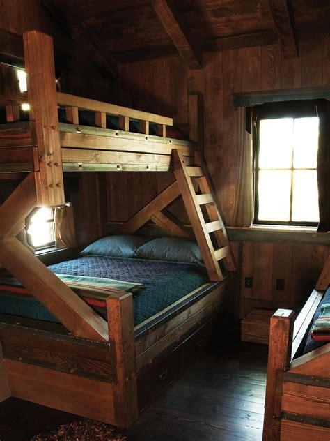 cabin bedroom  rustic wooden bunks hgtv