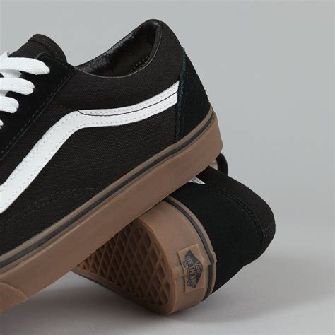 Vans Oldskool Black White Sole Gum Waffle Dt Premium Import vans skool shoes gumsole black medium gum flatspot