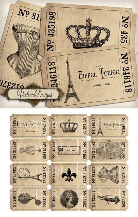 printable vintage tickets printable paris tickets by vectoriadesigns on deviantart