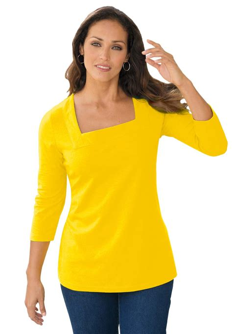 knit tops and tees with square neck plus size knit tops tees