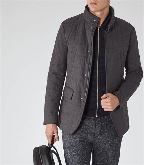 Grey Quilted Coat by Reiss Everest Quilted Jacket In Gray For Lyst
