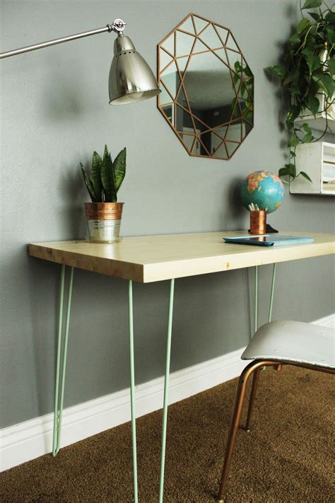 diy desk with hairpin legs diy contemporary hairpin leg desk