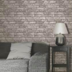 Rustic brick effect wallpaper 10m silver grey new fine decor fd31286