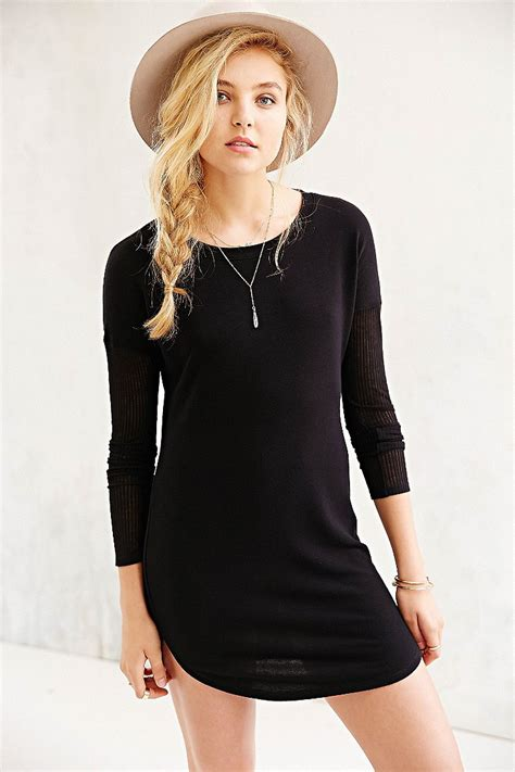 Bdg Highneck Black Dress lyst bdg rib sleeve knit t shirt dress in black