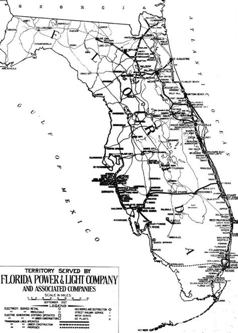 Florida Power And Light by Florida Memory Territory Served By Florida Power And