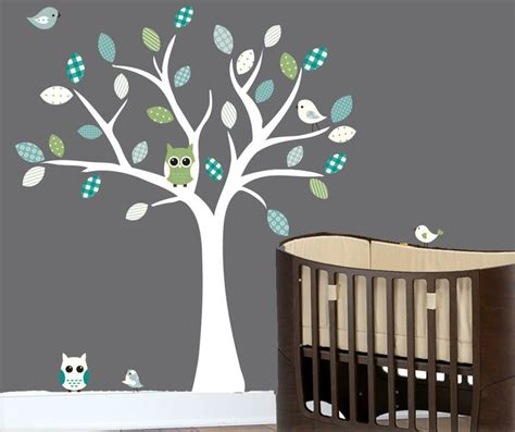 Tree Wall Decals For Nursery Etsy Nursery White Tree Wall Decal Blue Grey Turquoise And Green Patterned 0332 White Trees