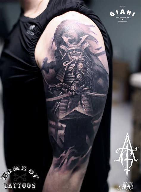 samurai sleeve tattoo anime samurai on half sleeve