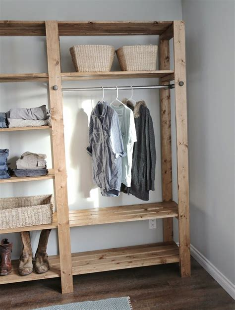 ana white build  industrial style wood slat closet system  galvanized pipes