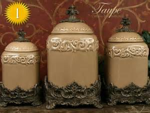 Designer Kitchen Canisters Drake Design Quot Taupe Quot Large Kitchen Canister Set Of 3 Top