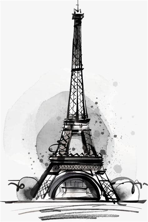 imagenes blanco y negro torre ifel dibujo de la torre eiffel negro decoracion vector