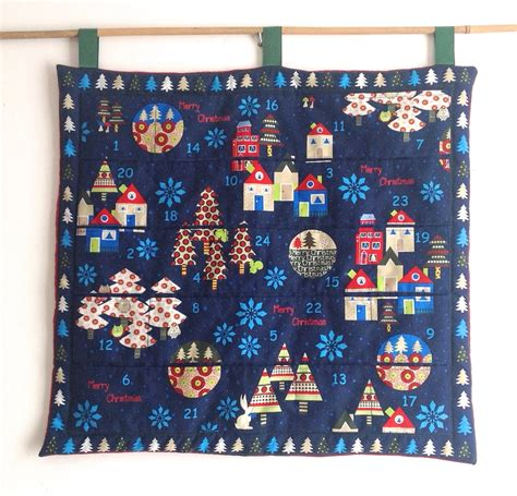 Patchwork Advent Calendar Pattern - advent calendar scandinavian style fabric blue quilted with
