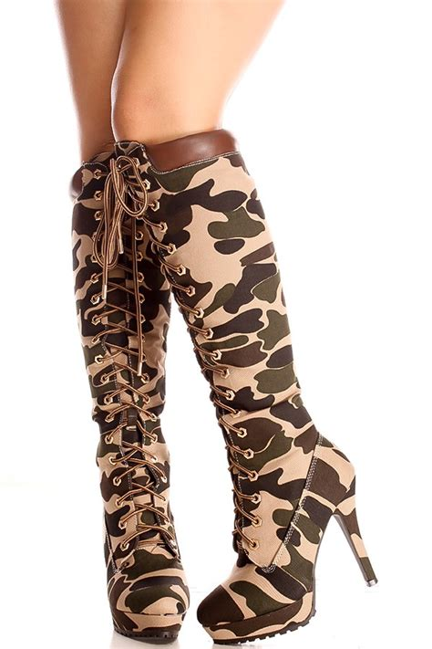 camo suede material front lace design knee high casual