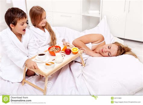 bed moms rise and shine breakfast in bed for mom stock photos