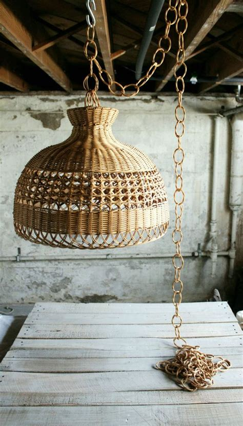 vintage wicker hanging light shade with chain the shade