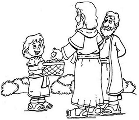 Feeding The Multitude Jesus Feeds 5000 Jesus Feeds 5000 Coloring Page