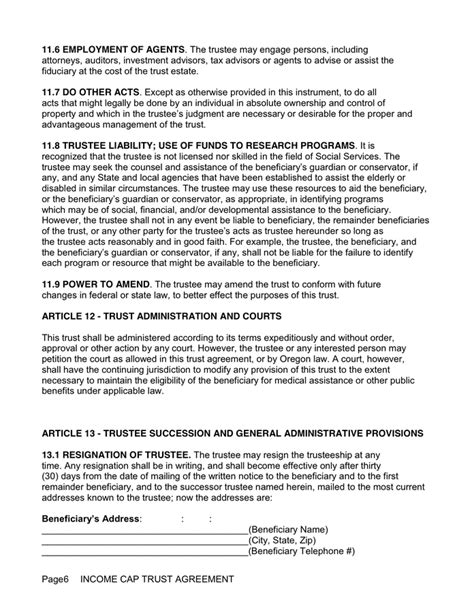 Irrevocable Living Trust Agreement In Word And Pdf Formats Page 6 Of 9 Irrevocable Trust Template