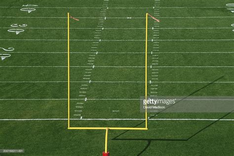 Picture Of Goal Post american football field with goal post elevated view stock
