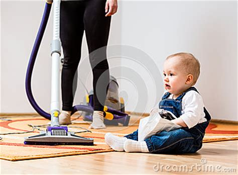 cleaning baby room cleaning home and child stock images image