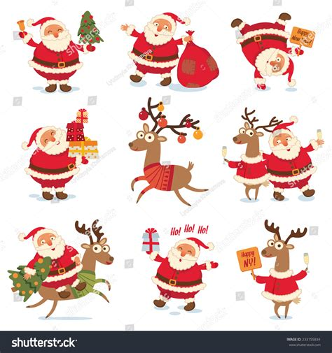 animated photos of christmas santa claus with reindeer santa claus reindeer stock vector 233155834