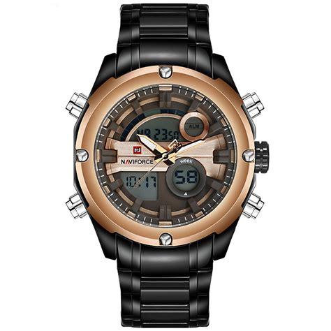 Jam Tangan Naviforce 9088 Blackgold Original navi jam tangan analog digital pria 9088 black gold jakartanotebook
