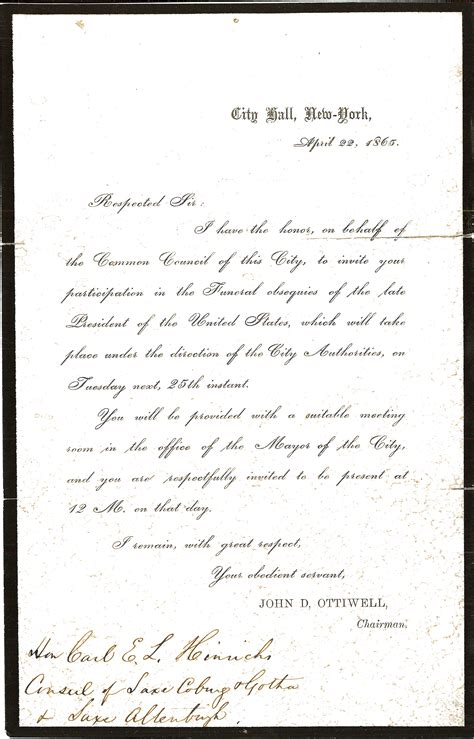 letter invitation to lincoln funeral new york