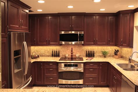 Cherry Kitchen Cabinets Shaker Door Style Custom Cherry Kitchen Cabinets With A Travertine Backsplash And Floors Modern