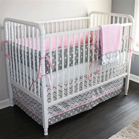 Pink And Gray Chevron Crib Baby Bedding Set By Gray And Pink Chevron Crib Bedding