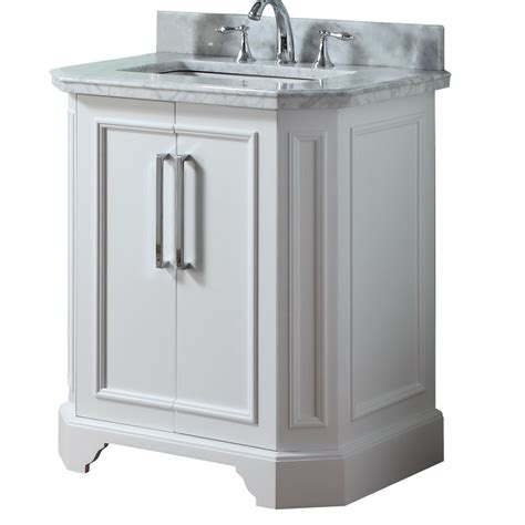 allen roth delancy white undermount single sink bathroom vanity  natural marble top
