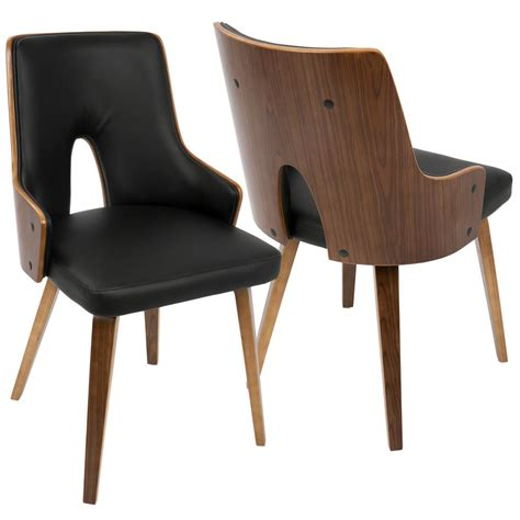 Black Modern Dining Chairs Lumisource Stella Mid Century Walnut And Black Modern Dining Chair Faux Leather Set Of 2 Ch
