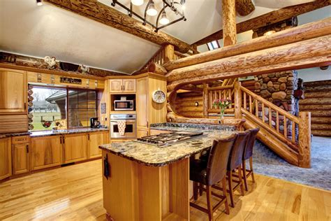 Wood Island Tops Kitchens Log Cabin Kitchens Cabinets Amp Design Ideas Designing Idea