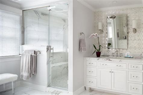 silver bathroom vanity white marble master bathroom vertical gray marble tiles transitional bathroom