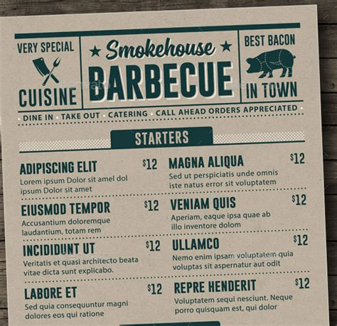 bbq menu template 25 best restaurant menu design templates 2015 pixel curse