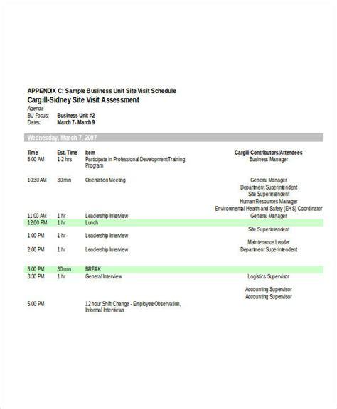 5 visit agenda exles sles
