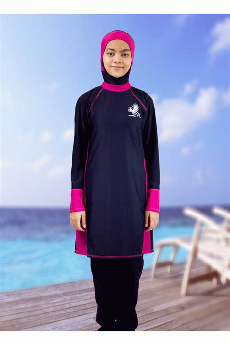 Baju Renang Muslimah Size L Dewasa baju renang muslimah ms06 black pink