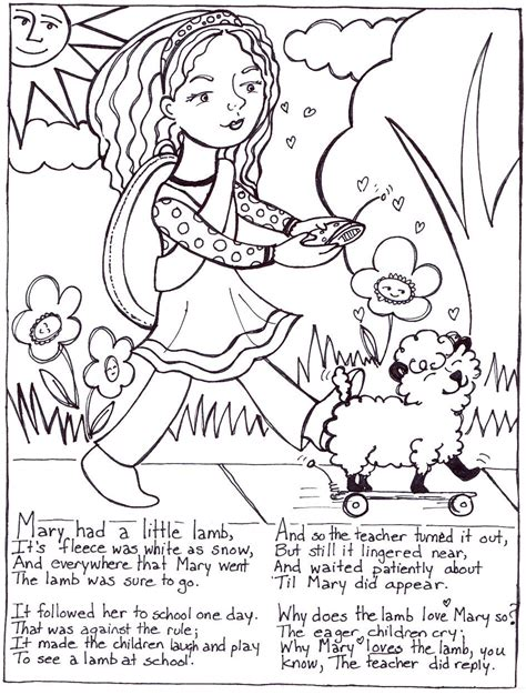nursery rhymes with words coloring pages