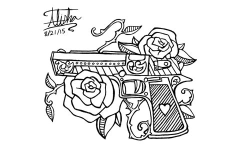 gun tattoo side piece design by alishaart on deviantart