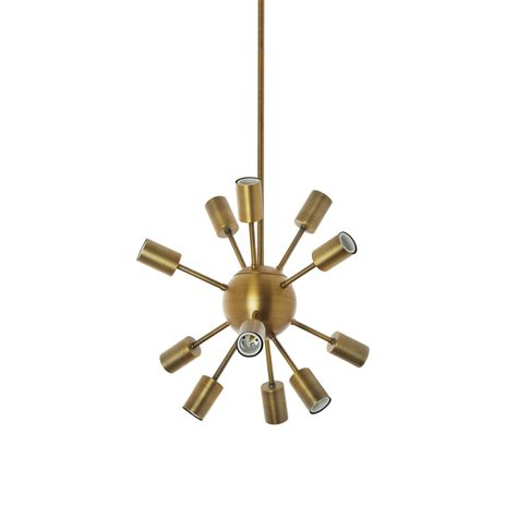 Sputnik Pendant Light Lights Ceiling Lights Chandeliers 12 Light Sputnik Pendant In Aged Brass Small