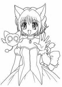 Anime Girl Anime Girl As Neko Coloring Page Little